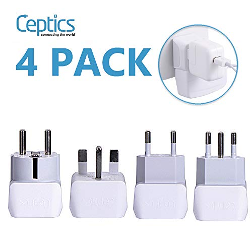 All European Travel Adapter Set by Ceptics, USA to Europe, Italy, Germany, England, Spain, Italy, Iceland, France (Type G, E/F, Type C, Type L) - 4 Pack - for Your Cell Phones, Tablets, iPhone, Camera