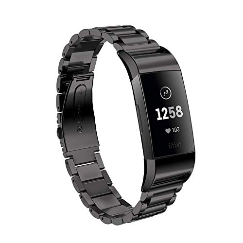 EloBeth Compatible with Fitbit Charge 3 Bands & Charge 3 SE Band for Women Stainless Steel Metal Wristbands (Black) (Black)