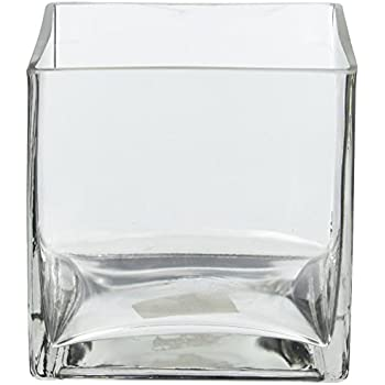 Amazon 5 Square Glass Vase 5 Inch Clear Cube Centerpiece