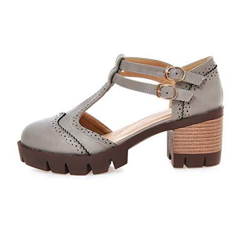 Puro Grigio Donna AllhqFashion Luccichio Medio Fibbia Tacco Ballet Flats FBUIDD006154 HSBqa1