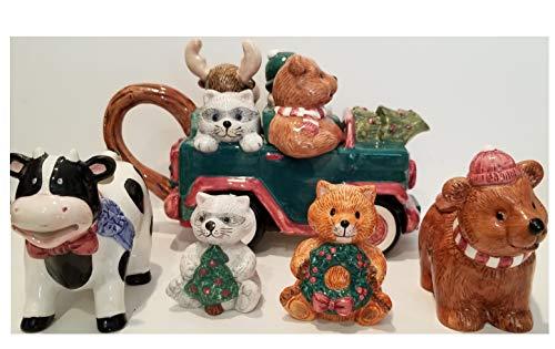 - Tea Pot Set, 5 Piece, Hand-Painted Ceramic, Adirondack Santa Set