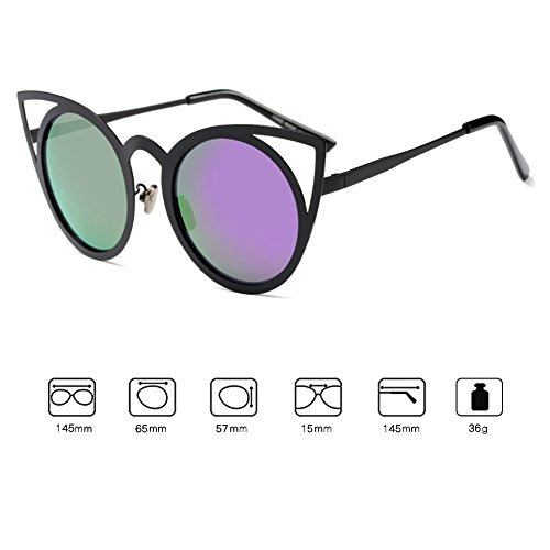 Sunglasses UV400 Cateye Eye C3 Fashion Mujeres Vintage Juleya Mujer Eyewear Espejo Cat zqwtTRXxf