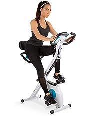 Klarfit Azura Plus 3-in-1 hometrainer, fitnessfiets, fitnessfiets, cardio-training, riemaandrijving, hartslagmeter, flexibele trekbanden, 8-traps magneetweerstand, tablethouder