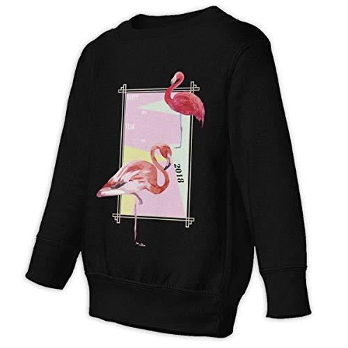 Xgbb Happy New Year 2018 Pink Flamingo Toddler Long Sleeve Pullover Sweatshirt Little Boys' Sweatshirt Black 3T]()