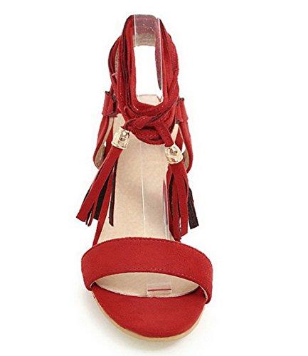 Rouge VogueZone009 d'orteil Sandales Ouverture Couleur Lacet Dépolissement Femme Unie xxwq8Az6