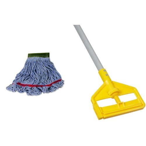 Rubbermaid Commercial Swinger Mop, Blue, FGC15206BL00 with Rubbermaid Commercial Invader Side Gate Wet Mop Handle, 54-Inch, FGH145000000