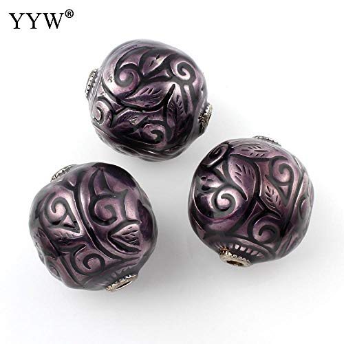 Calvas Antique Silver Color Plated Enamel Drum Loose Beads with 4mm Hole for DIY Jewelry Making Handmade Bracelet Necklace Accessory