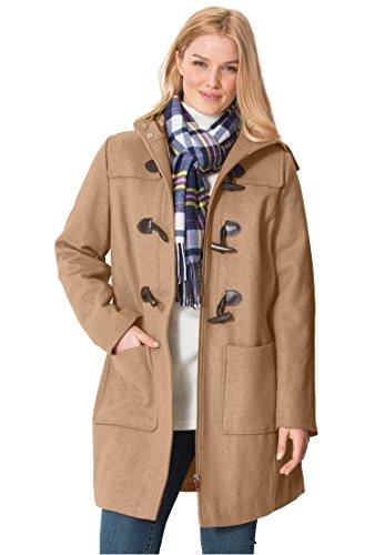 Women's Plus Size Classic Duffle Coat Honey Camel,14 W
