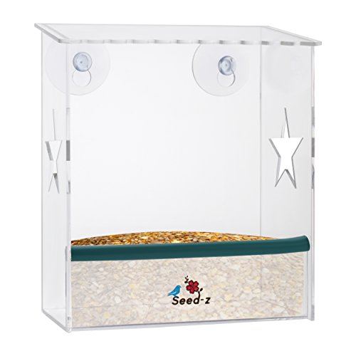 Seed-z | Window Mounted Bird Feeder | Complete With Drain Ho