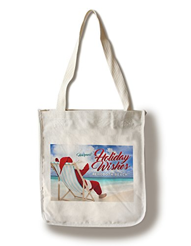 Rehoboth Beach, Delaware - Warmest Holiday Wishes - Santa on the Beach (100% Cotton Tote Bag - - Beach Rehoboth Shopping