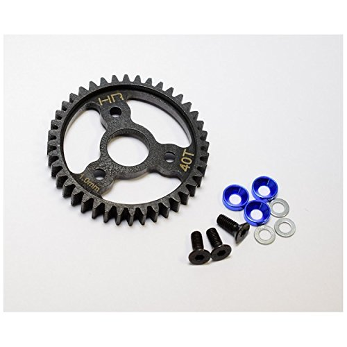 Hot Racing Srvo440 Steel Spur Gear, 40 Tooth, 1.0 Mod, with Blue Washers, for Traxxas Revo 3& Slayer Pro 4X
