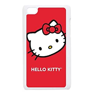 iPod Touch 4 Case White Hello Kitty Cropped Face Red Zaymi
