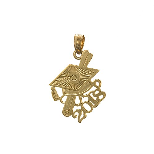Graduation Cap 14k Gold Charm - 14k Yellow Gold Graduation Charm, Year 2018 Cap with Slanted Diploma