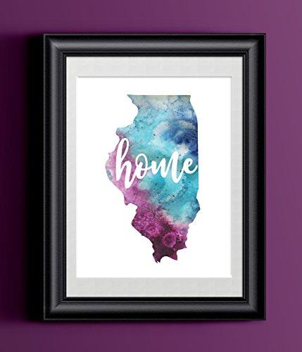 Illinois Home Watercolor Print