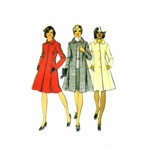 1970s Princess Seam Coat Simplicity 5928 Vintage Sewing Pattern Full Figure or Misses Sizes Check Offers for Size 70s Simplicity Sewing Pattern