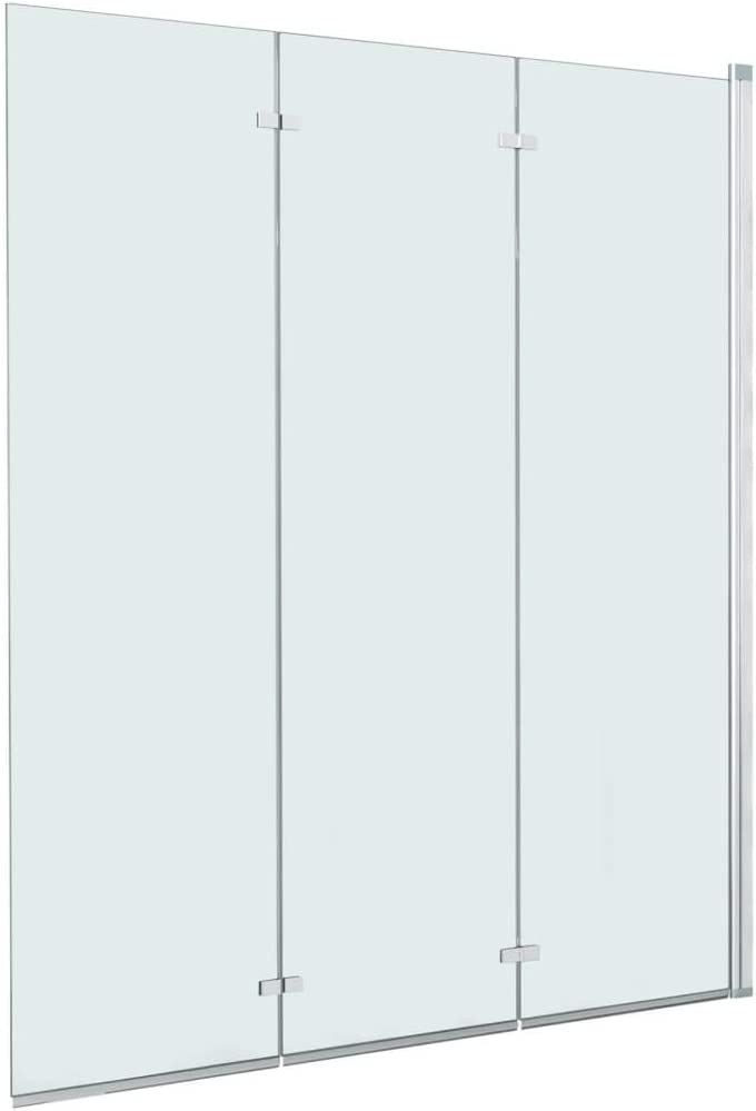 vidaXL Mampara Ducha 1 Hoja Plegable Pivotante Doble + 1 Hoja Fija Cristal Seguridad Vidrio Templado Cabina Baño Transparente Cierre Lateral Bañera: Amazon.es: Hogar