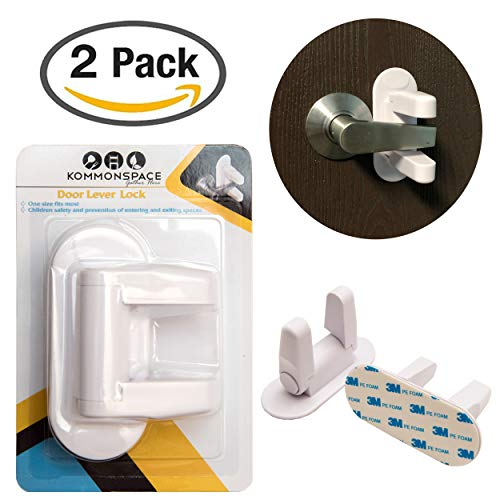 (Door Lever Lock (2 Pack) Child Proof Doors & Handles 3M Adhesive - Child Safety by Kommonspace)
