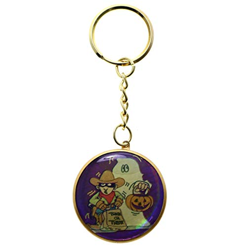 Halloween Cowboys Ghost - Halloween Trick or Treat Ghost & Cowboy Split-Ring-Keychain Multicolor Gold-Tone