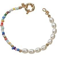 Colorful Beaded Faux Pearl Decor Handmade Bracelet Women Boho Chic Seed Beads Jewellery (Gold)