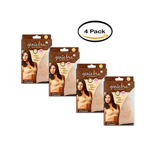 Genie Bra Pack Of 4 XS/S Nude & Black Bra, 2 count by Genie Bra