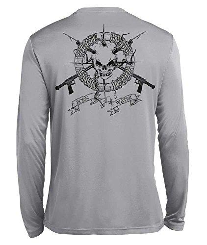 (Born of Water Spearfishing/Scuba Diving Shirt: Performance Wicking Long Sleeve: Skull & Spearguns - S Light Gray )