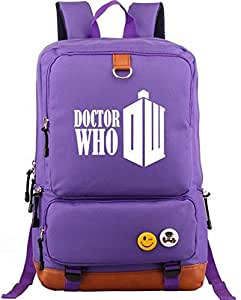 BBC Doctor Who Symbol designer Laptop Travel fits 17 inch Laptop canvas Backpack for Women,Men,girls and boys,purple