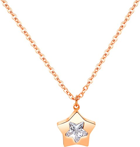 Crytsals Star - Wonlines Fashion Stainless Steel Crystal Star Tag Pendant Choker Necklace(Rose Gold)