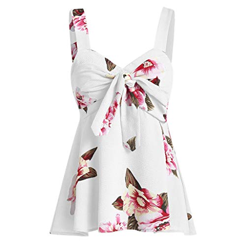 lotteQW Dress-Fashion Women Casual Camis Bow Knot Bandage Floral Print Tank Top Vest,Womens Dresses Summer Sexy]()
