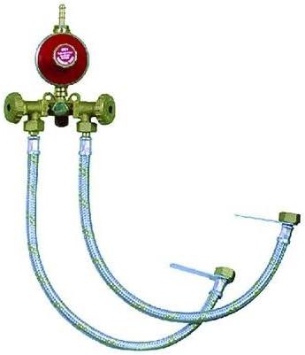 CENTRALITA para gas a 2salidas completa de flexibles, regulador y válvula de seguridad.