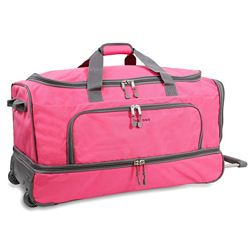 OS Pink 30-Inch Drop Bottom Softsided Rolling Duffel Bag, Nylon & Polyester by OS