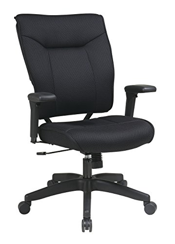 (Space Seating Professional Padded Mesh Back and Seat, 2-to-1 Synchro Tilt Control, Adjustable Arms and Tilt Tension Executive Chair, Black)