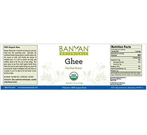 Banyan Botanicals Ghee - Certified Organic - From Grass Fed Cows - 7.5 oz - Gourmet Clarified Butter by Banyan Botanicals (Image #1)