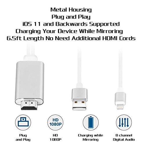Bambud Compatible with iPhone iPad to HDMI Adapter Cable 6.5ft, Digital AV Adapter 1080p HD TV Connector Cord Compatible with iPhone Xs Max XR R 8 7 6s Plus, 6,iPad to TV Projector Monitor (White)