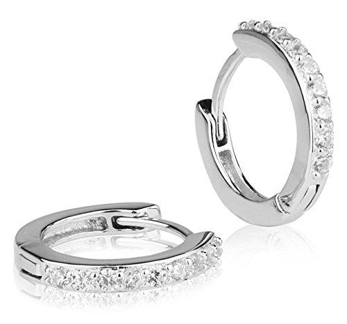 925 Sterling Silver Round Hoop Huggie Earrings CZ Stones For Men Women Ladies and Girls Casual Huggie Earrings
