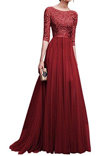 Y Mujer Cuello Rojo Ajuste Scoop Dress Swing La Gasa Maxi Partido Elegante Flare Redondo Formal d8qE6zR