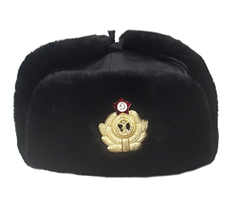 Genuine Sheepskin Soviet Navy Officer Winter hat Ushanka, with Badge cocarde (XL/62) ()