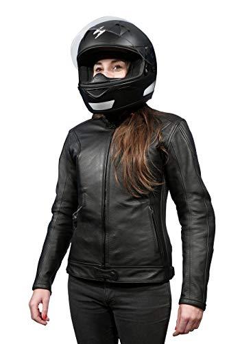 HELITE Women's Xena Leather Motorcycle Airbag Jacket (Black, -