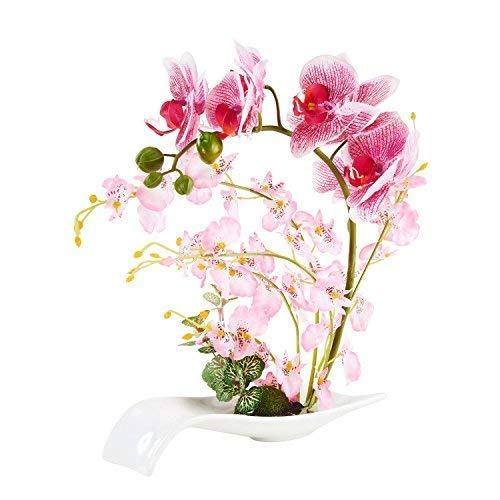 LOUHO Artificial Orchid Phalaenopsis Arrangement Faux Flower Bonsai with Ceramic Vase for Room Table Centerpieces (Pink)