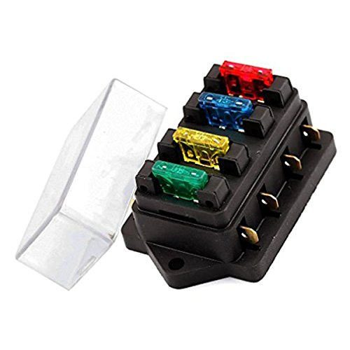 WINOMO 4-Wege-Blade-Sicherungskasten-Schaltkreis Standard ATO-Sicherungsblock mit 4 Sicherungen f/ür Auto-Boots-LKW-Bus Trike