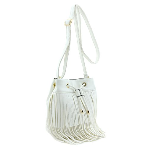 Small Fringe Bucket Crossbody Bag White
