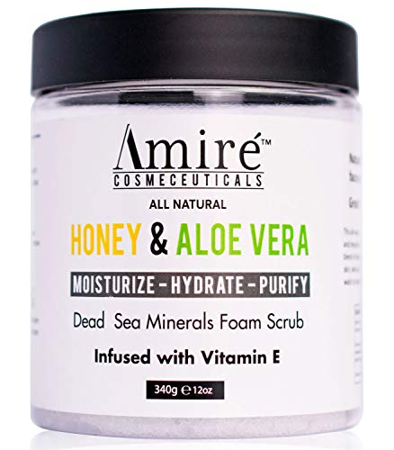 Dead Sea Minerals Foam Exfoliating Body Scrub with Honey and Aloe Vera, Moisturize, Hydrate, and Purify your Skin, Infused with Vitamin E, Great to Reduce Severity of Acne Breakouts (Honey Almond Sugar Scrub)