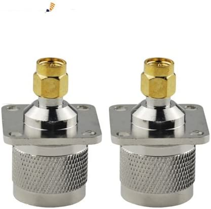 2-Pack SMA Male to N Male Plug 4 Hole Flange Mount Coaxial Connector Adapter
