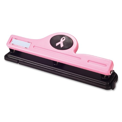 Officemate Breast Cancer Awareness 3-Hole Punch, Antimicrobial, Pink, 1 3-Hole Punch (08901) by Officemate