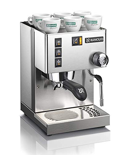 Rancilio Silvia Updated Model Commercial Espresso Coffee Machine With New Group Head Cover, Refreshed Switch Icons, Iron Frame, Stainless Steel Steam Wand And Side Panels, 11.4 By 13.4-Inch