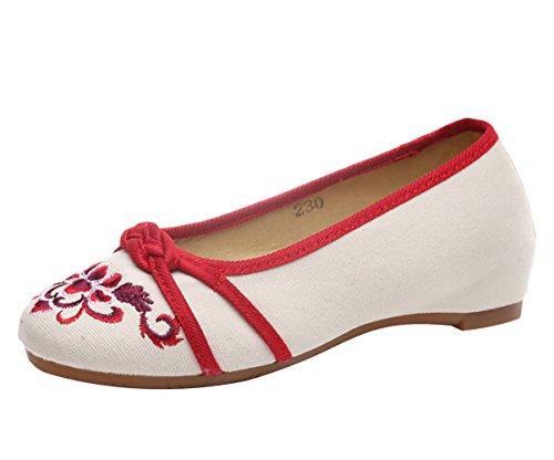 Insun Damen Ballerinas Süß Freizeitschuhe Bequeme Flats Blume Stickerei Schuhe Rot