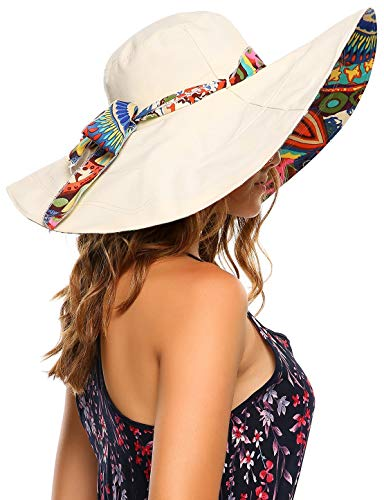 Packable Extra Large Brim Floppy Sun Hat Reversible UPF 50+ Beach Sun Bucket Hat (Medium, ()