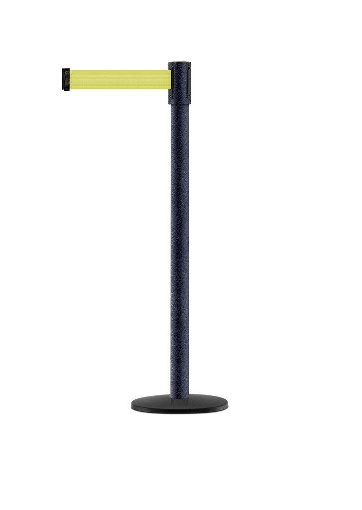 Tensabarrier - 890B-33-89-89-STD-NO-F5X-C - black wrinkle post, 2'' wide, 7'6'' length Florescent Yellow belt