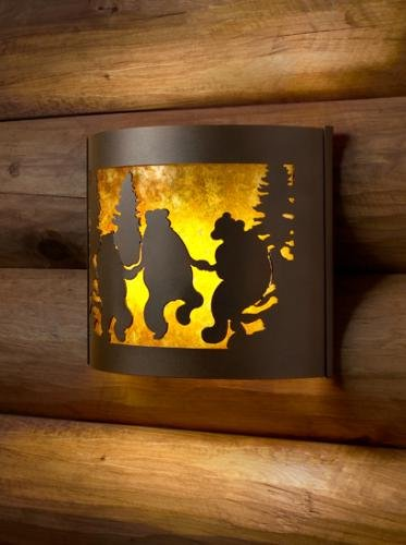 Sconce Lighting Fixtures - Dancing Bear Facing Left Metal Sconce DB009FL