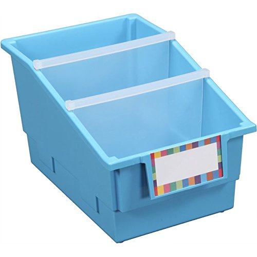 Really Good Stuff 12 Pack Single Color Chapter Book Library Bins with Dividers