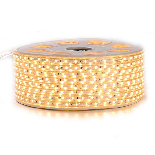 Shine Decor LED Strip Lights, 110V Dimmable Flexible Waterproof Rope Lights, 2835 60LEDs/M, for Indoor Outdoor Ambient Commercial Lighting Decoration, Accessories Included, 150ft 3000K Warm White